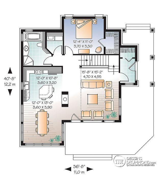 Plan De Rez De Chaussée Maison Style Chalet Panoramique Avec Chambre Des  Maîtres Au