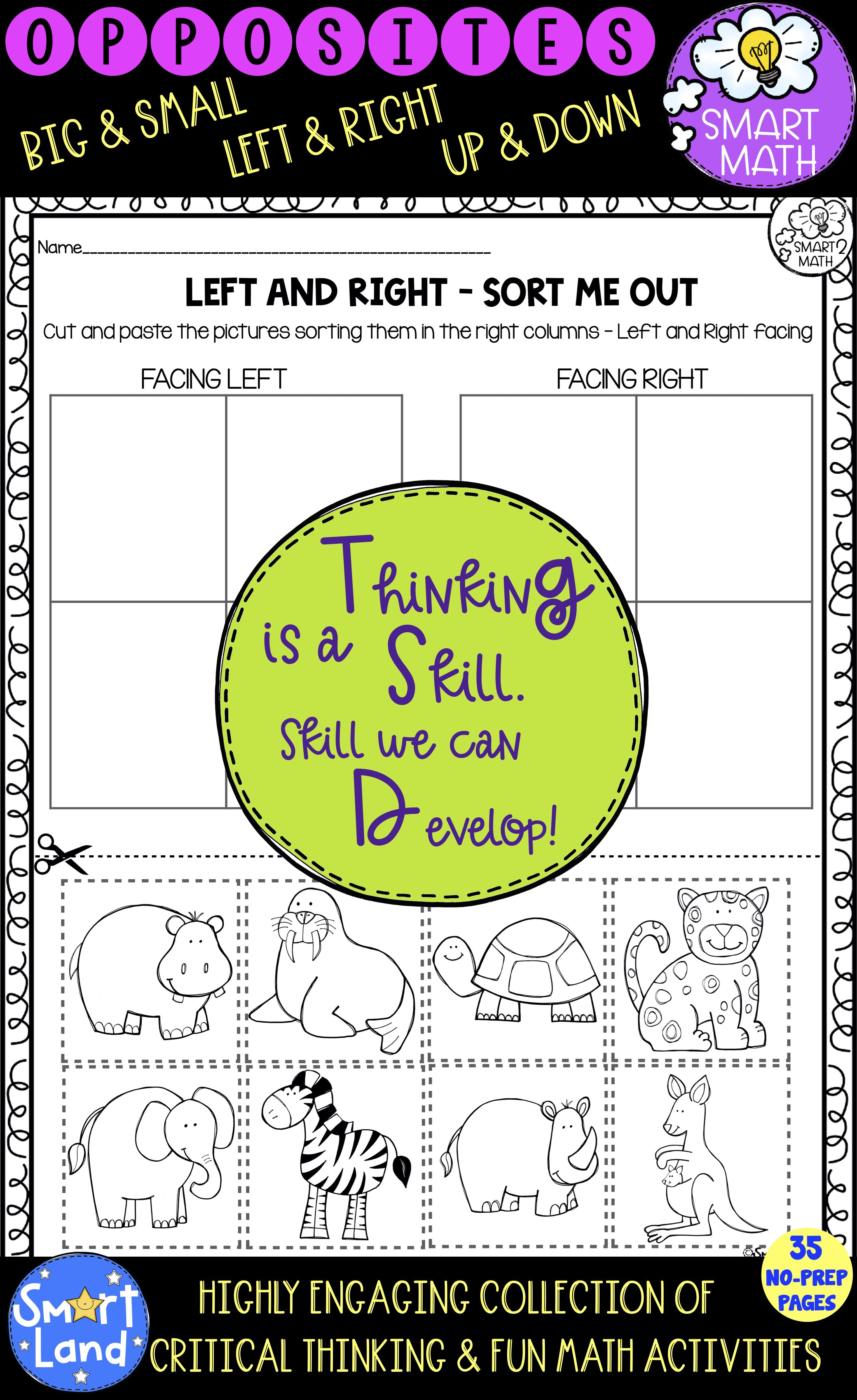 Opposites Worksheets Critical Thinking Early Math In