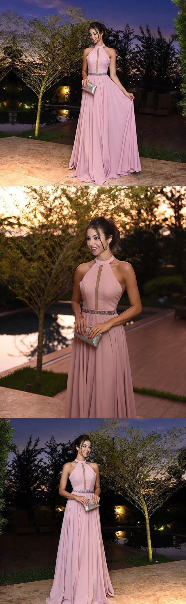 Chic prom dresses floorlength sparkly halter prom dress simple