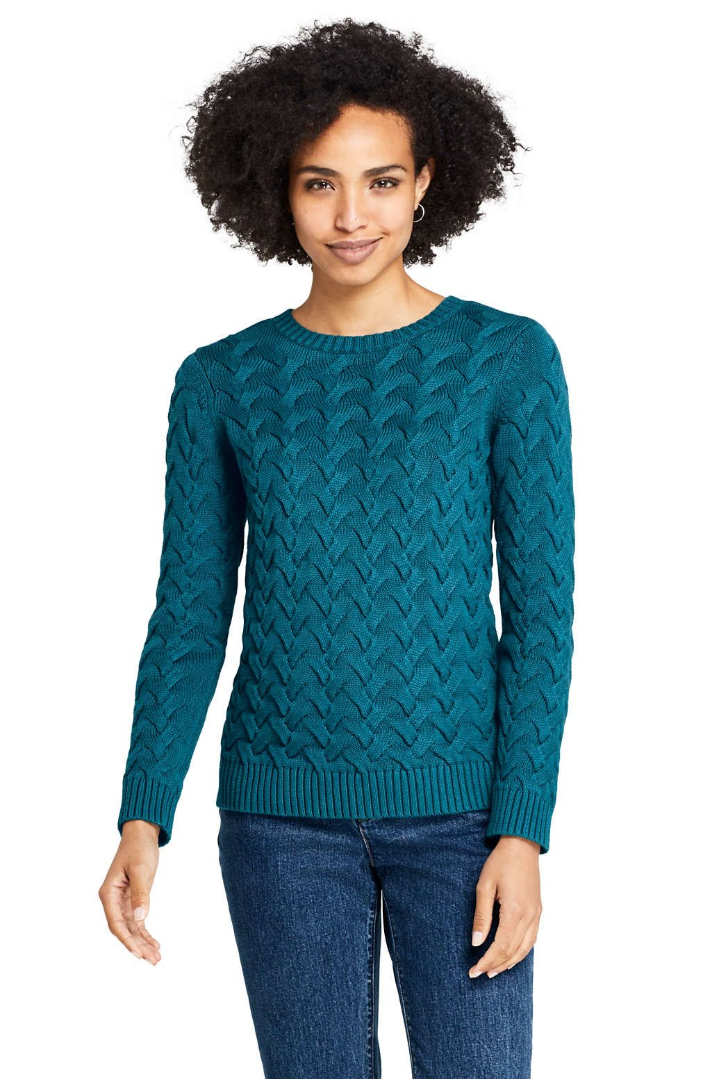 Women S Drifter Cotton Crew Neck Sweater From Lands End Sweaters For Women Stylish Sweaters Crew Neck Sweater [ 1552 x 1035 Pixel ]