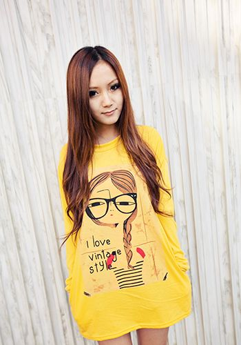 I Love Vintage Style Top in Yellow