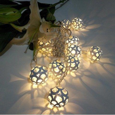 Iron Golden Ball String Lights Fairy Led Home Decor Light Garden Of Battery Ed 1 65m 10 Pinterest Lighting Online