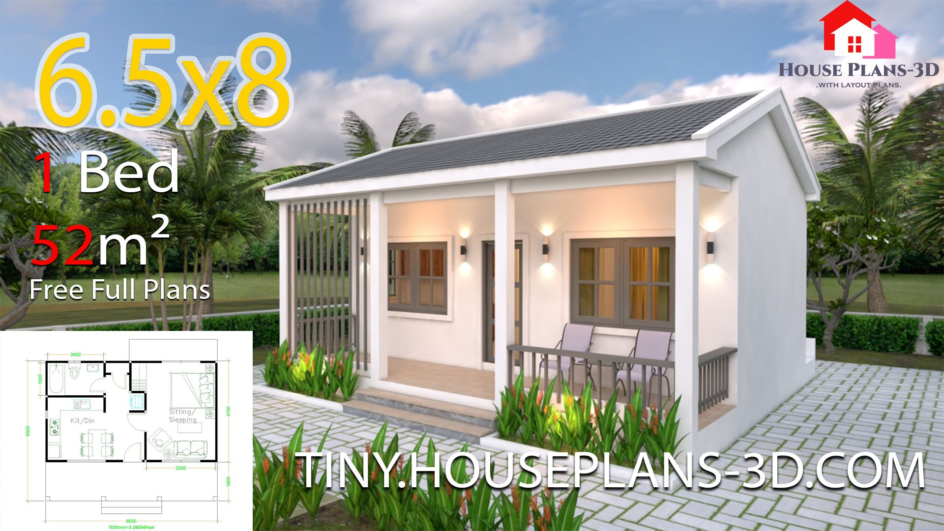 Small House Plans 6 5x8 With One Bedrooms Gable Roof Tiny House Plans Small House Design Plans Small House Design House Plans
