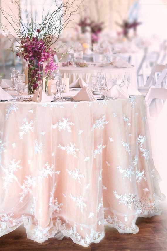 Lace Tablecloth Made To Order White Lace Overlay And Satin Etsy Wedding Cake Table Wedding Table Bridal Shower Decorations