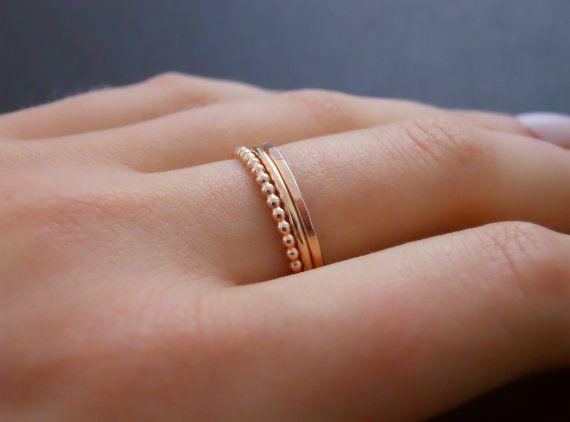 Rose Gold Filled Ring Set Set 3 Rings Hammered by annikabella