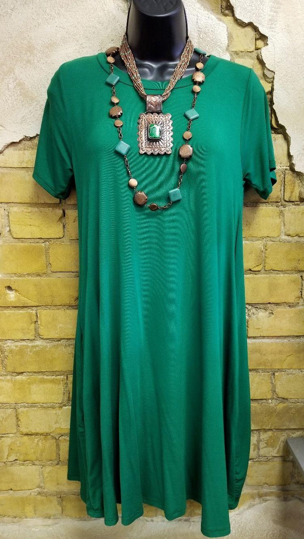 Green Bamboo Fabric T-shirt Pocket Dress