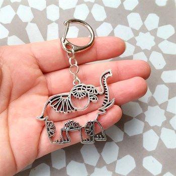 Elephant+sleutelhanger+/+tashanger+met+olifantje+-+Made+by+Flor+Accessoires