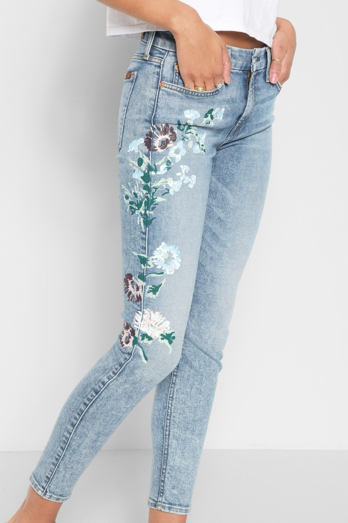 Ankle Skinny with Hand Painted Floral in Radiant Wythe