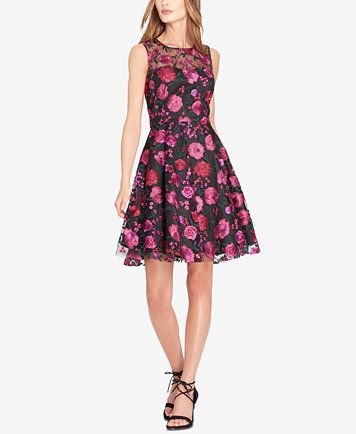 ee886cfe530a Tahari ASL Floral-Embroidered Fit & Flare Dress | macys.com | Macy's ...