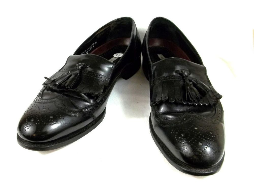 florsheim slip on wing tip tassel loafers black leather