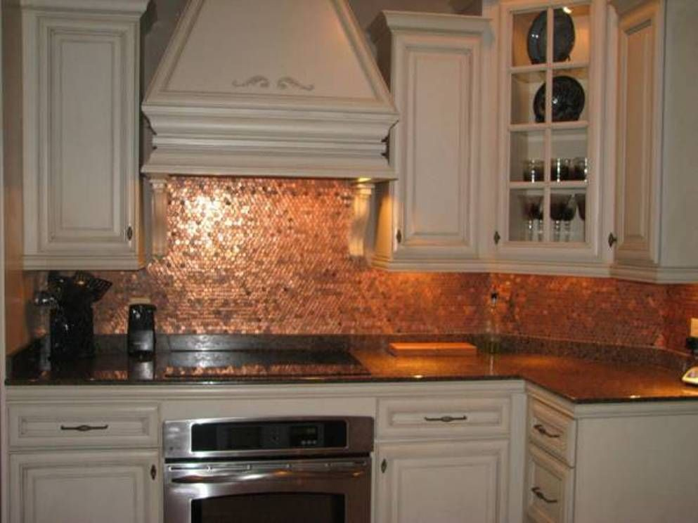 Copper Backsplash Overhead Fan Glass Cooktop Add Microwave Drawer Below