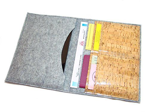 Passport wallet Wool Felt Cork laminated, family passport wallet, travel wallet, passport case, family passport holder, identity card. The design felt is not only durable and functional, but also very durable by nature, heat-insulating, dirt and water repellent.