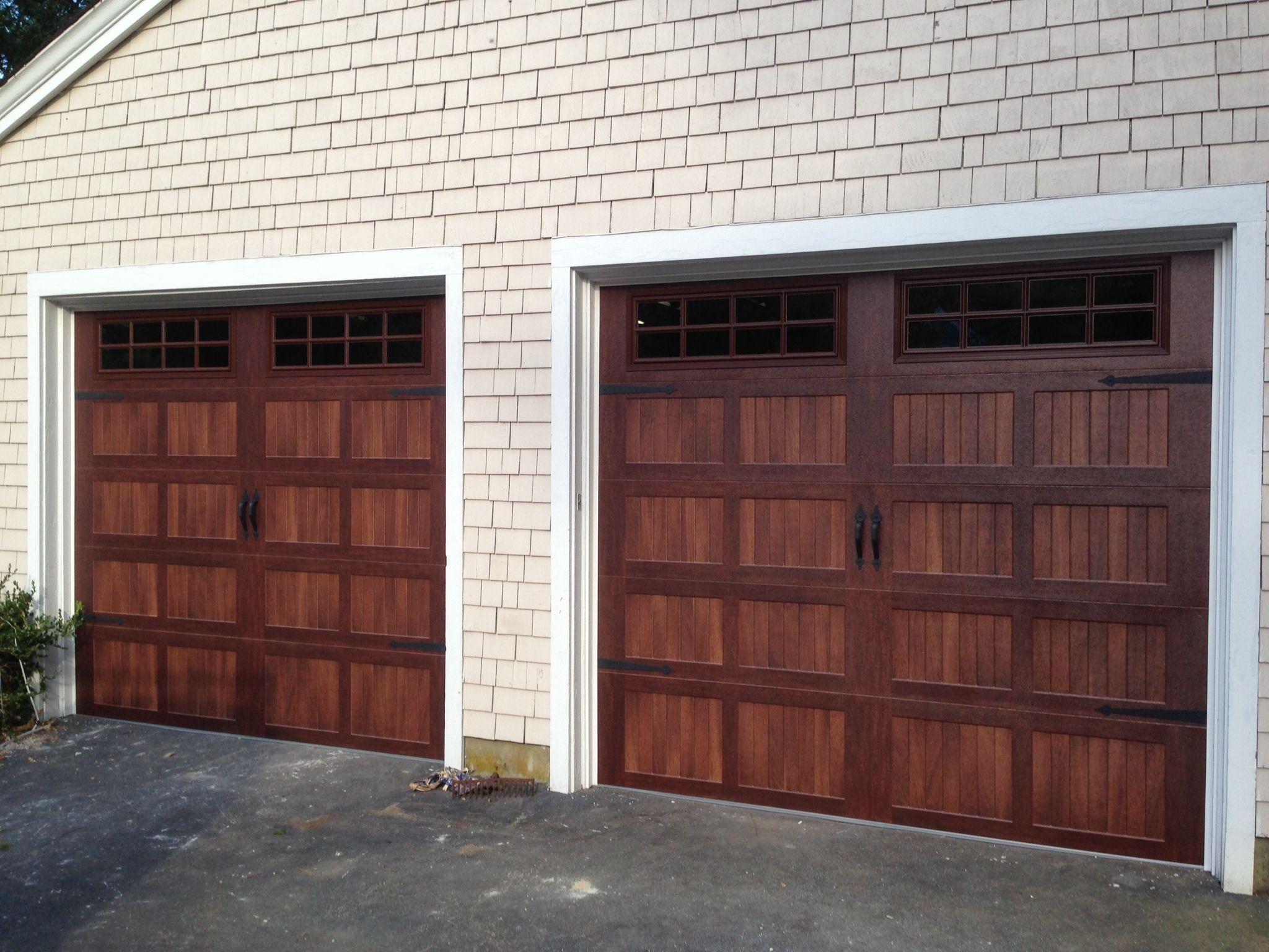 C h i overhead doors model 5216 faux wood steel carriage for Wood looking garage doors