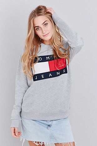 a3f1faa9676 UO Exclusive Tommy Jeans Grey Crew Neck Sweatshirt - Urban Outfitters