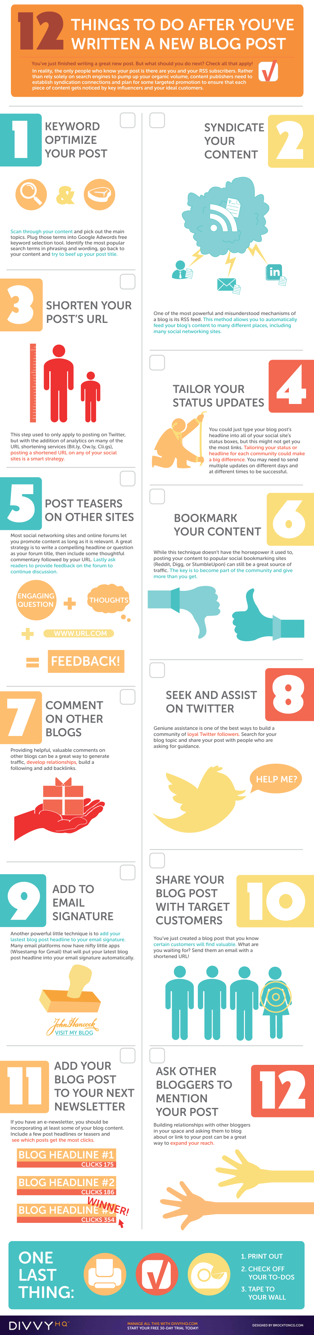 An infographic with 12 great tips to promote your latest blog post. Nice list here