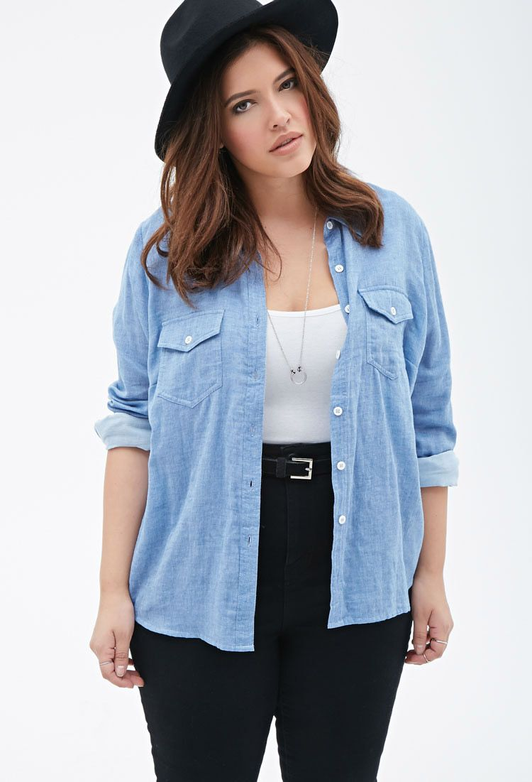 301509ae8b596 Plus Size Chambray Button-Down Shirt. Forever 21 Plus Chambray Button-Down  Shirt ( 23) ❤ liked on Polyvore featuring