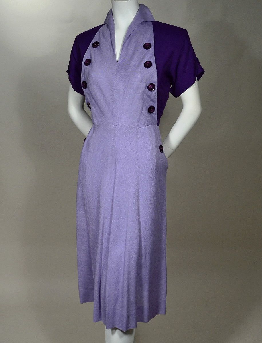 Vintage 1940s Color Block Swag Dress: Pin On Women's Fine Vintage Clothing Available For Sale At