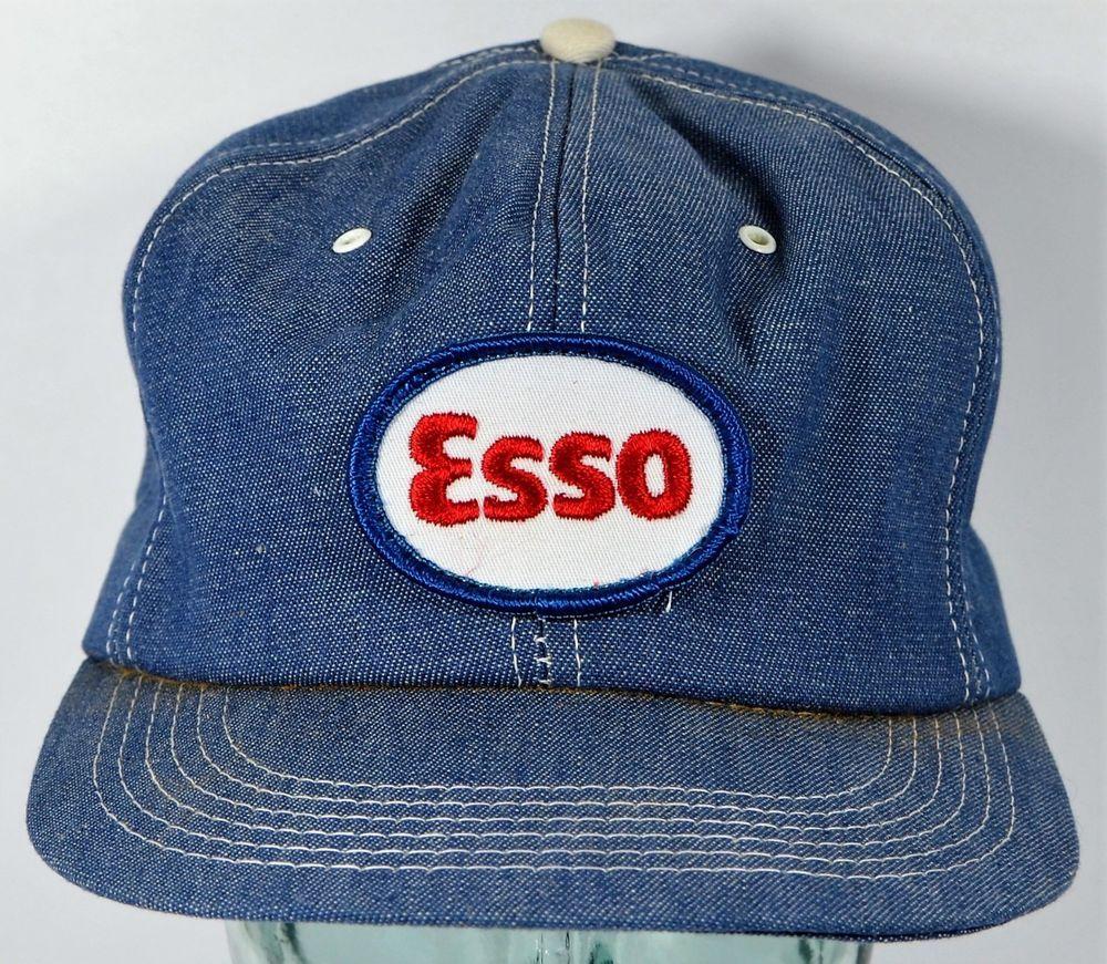 9eedc4eb349 Vintage ESSO Blue Denim Snapback Hat Canada K Brand Cap Foam  KBrand   Trucker