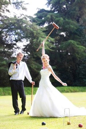 Croquet Playing Bride And Groom At Deer Park Hotel Wedding Reception