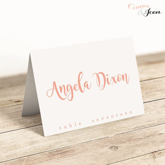 Coral Wedding Name Place Cards Printable Template Folded  Flat - folded place card templates