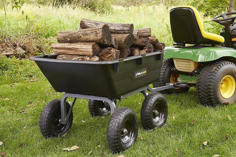Dump Cart For Lawn Tractor Garden With Big Wheels Gorilla Atv Gor6ps New Design Gorilladumpcartforlawntractor Dump Cart Wheelbarrow Garden Wagon
