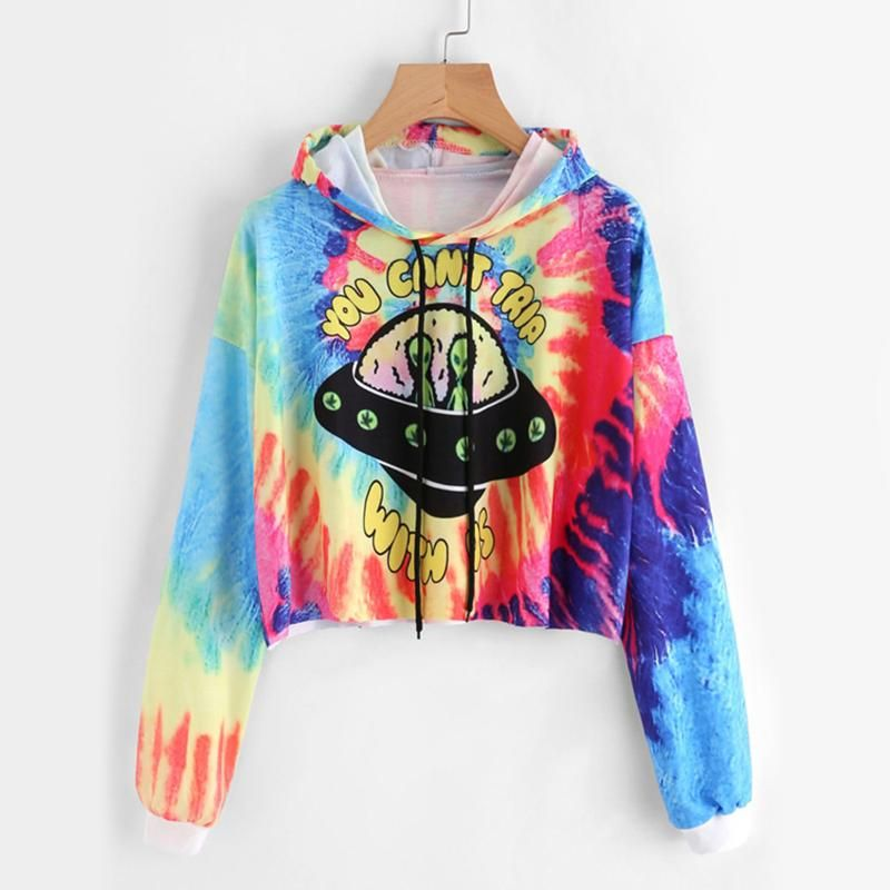 e5ef95d9845 You Can t Trip With Us Rainbow Tie Dye Crop Hoodie in 2019