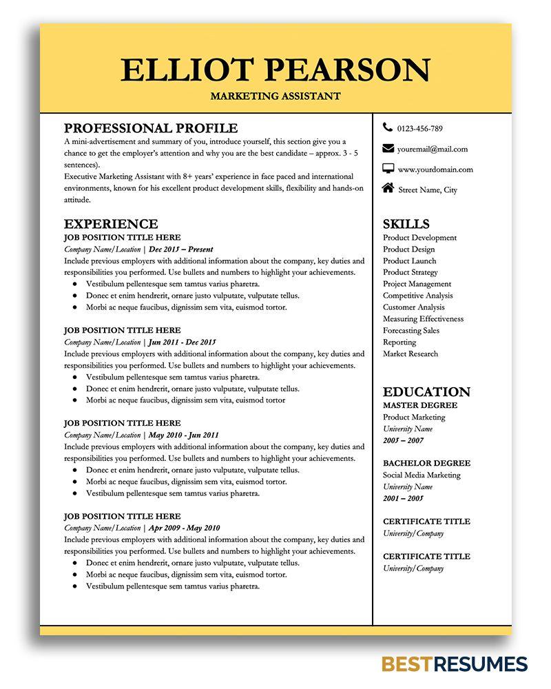 Professional Resume Template Elliot Pearson BestResumes