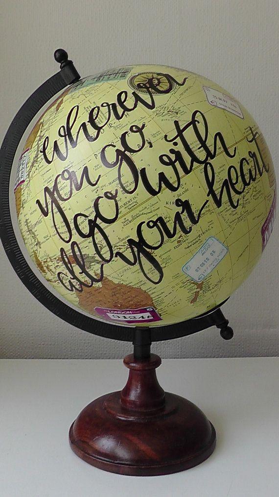 Handgemalte Globus. Reise Geschenk   geschenkideen   Reise