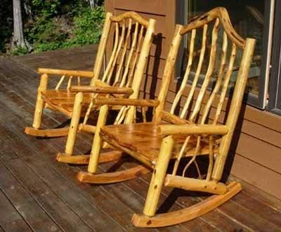 log chair plans | Rustic Log Rocking Chair Plans Free