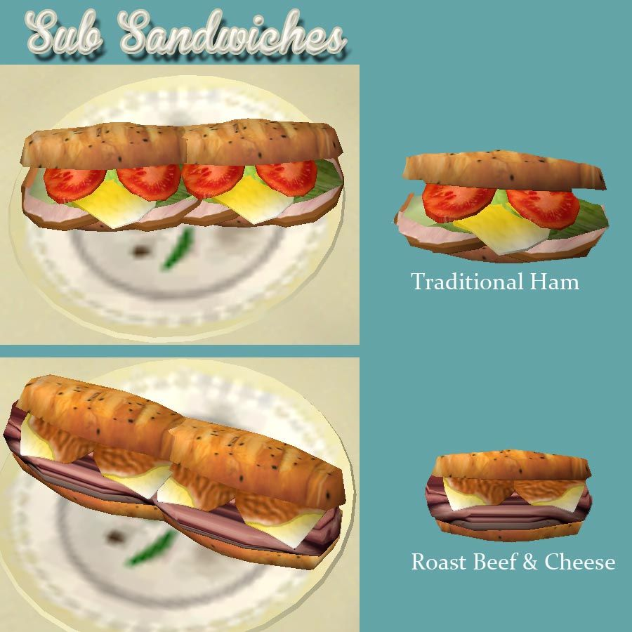 Mod The Sims New Sub Sandwiches Roast Beef Cheese And