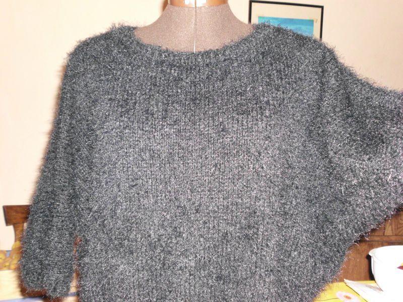 Femmes Tricot Pullover Chauve-souris Haut Pull Tricot Pull Noir XS S M