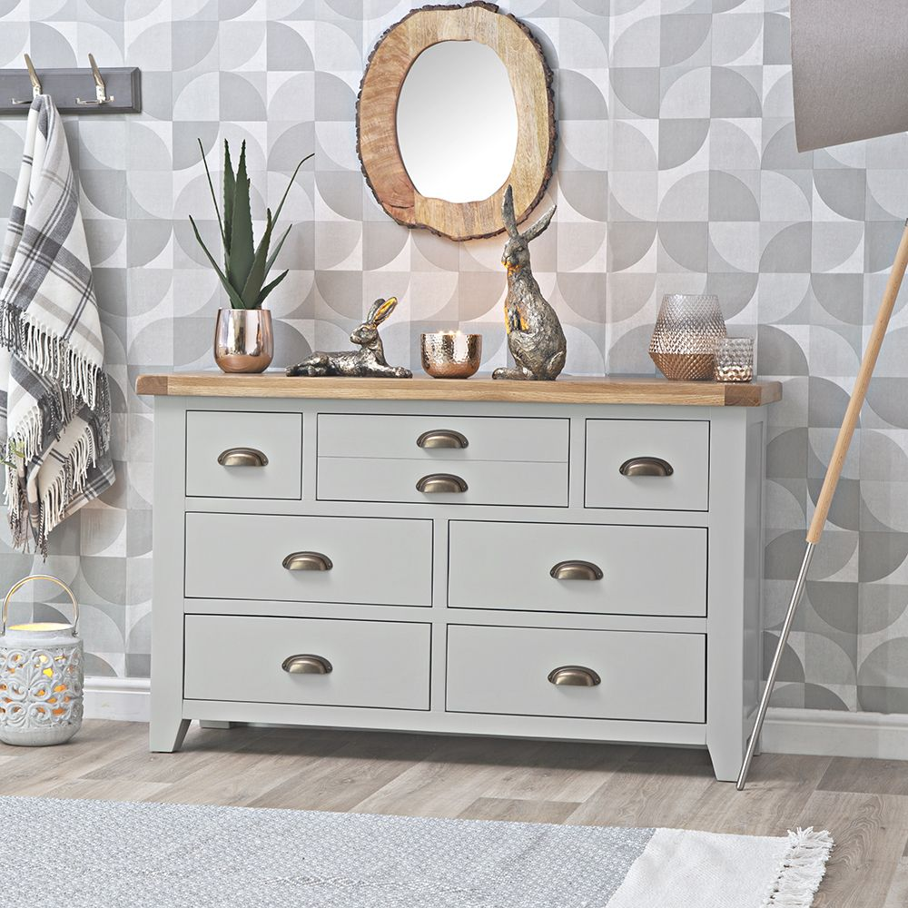 Hampshire Grey Painted Oak 3 Over 4 Chest In 2020 Oak Bedroom Furniture Furniture Grey Bedroom Furniture