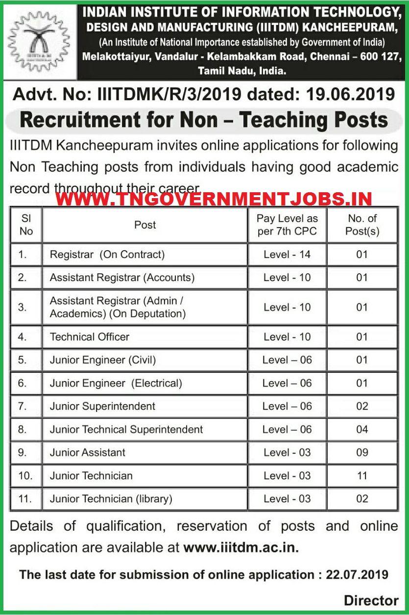 IIITDM Chennai Central Govt Non Technical Jobs 2019