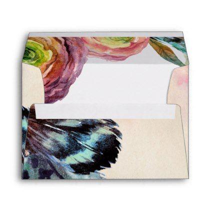 Matching Bohemian Floral Wedding Envelopes envelopes custom unique diy cyo personalize idea envelope