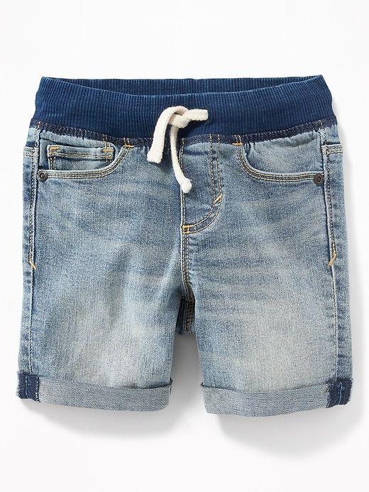 Old Navy Toddlers Karate Rib Knit Waist Denim Shorts