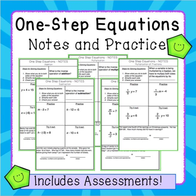 One Step Equations With Rational Numbers Interactive Notes And Assessments One Step Equations Rational Numbers Equations Free one step equation worksheets