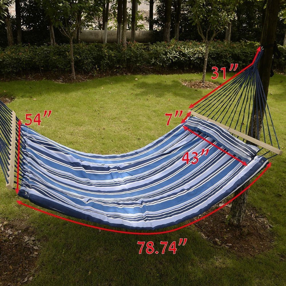 Double size hammock two person hanging quilted fabric
