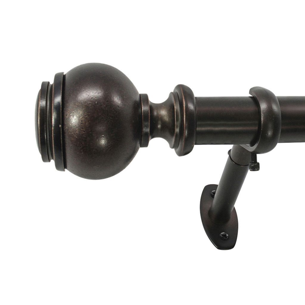 22 Park West Capped Ball Telescoping Single Curtain Rod And