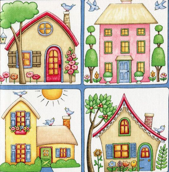 Cottages Mary Engelbreit Fat Quarter Casitas Casas y Doodle