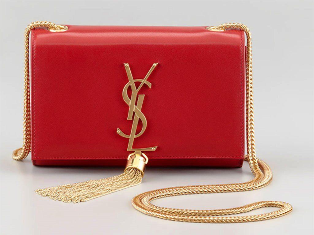 cbcd97f3b864 ... Yves Saint Laurent Cassandre Small Tassel Bag buy popular 6049c 29aa3  Saint  Laurent Red Monogram Matelasse Leather Large Shoulder ...