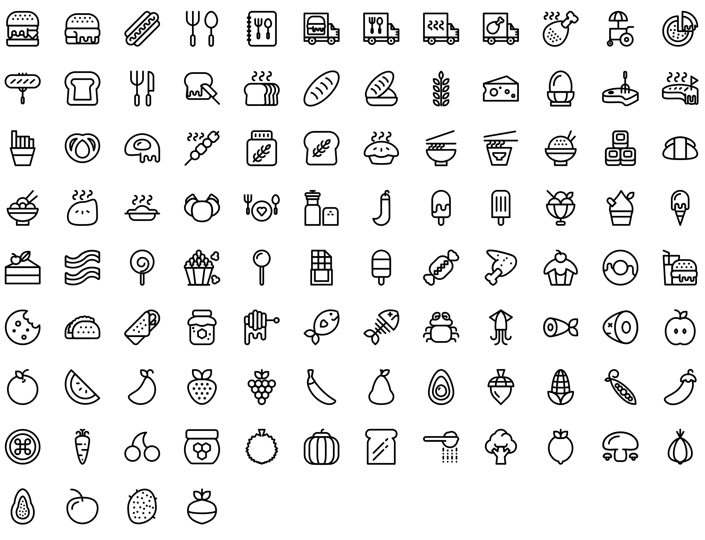 Food line icons preview line and solid icons pinterest icon get above the competition with this massive line icons pack 109 categories containing icons made for websites ios and android apps biocorpaavc Images