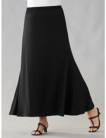 Easy fit pull-on skirt with elastic waist. A-line fit. 96% viscose rayon/4% spandex. Machine wash. Imported. Length: 34. sonsi.com