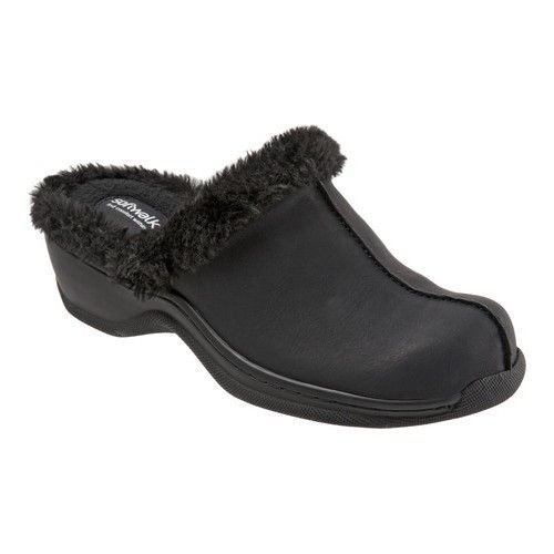 SoftWalk Women's Abigail Clog, Size: 9.5, Black Nubuck/Faux Fur | Clogs and  Products