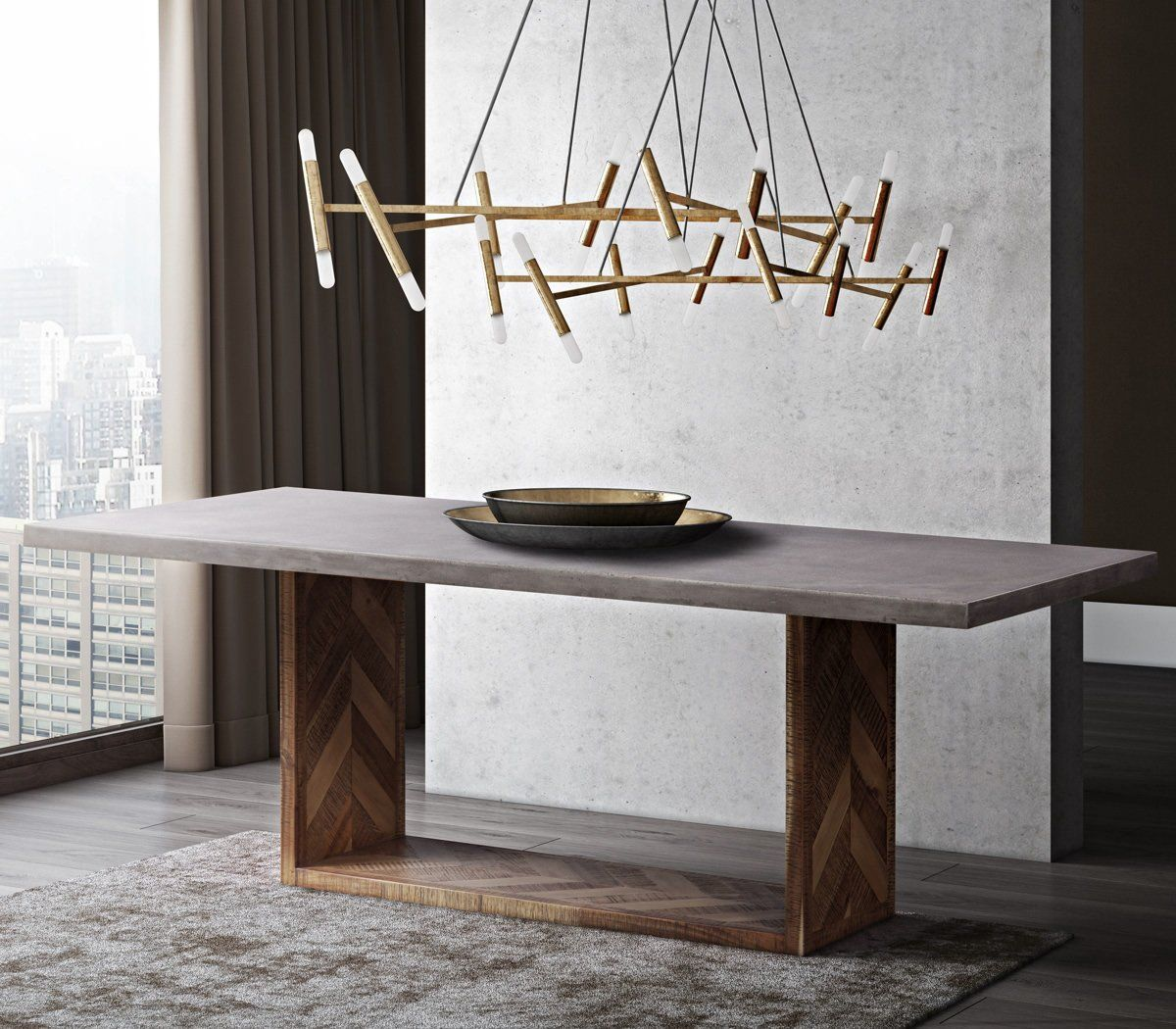 Tov Furniture Modern Wyckoff Mixed Dining Table Tov D7055 Modern Dining Table Concrete Dining Table Contemporary Dining Table