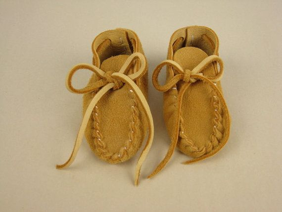 Toddler Baby Moccasins, Suede Deerskin Booties, Buckskin Leather Slippers, Golden Tan Shoes, size 12-15 months, 5.'' long on Etsy, $24.00