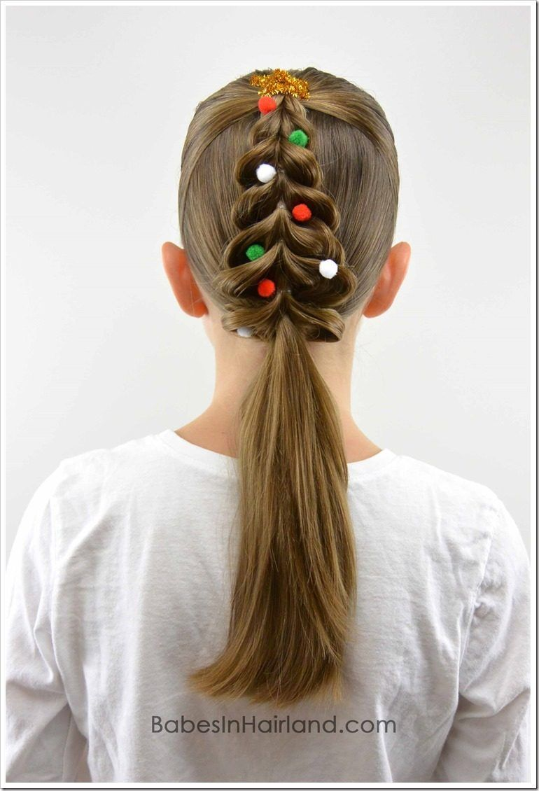 20 Easy Christmas Hairstyles For Little Girls Cute Little Girl Hairstyles Little Girl Hairstyles Christmas Tree Hair