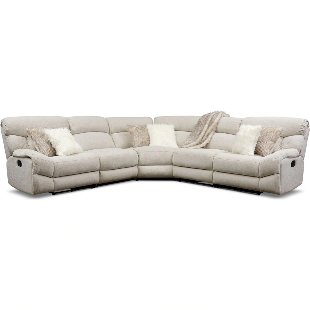 Wave 5 Piece Manual Reclining Sectional With 3 Reclining Seats