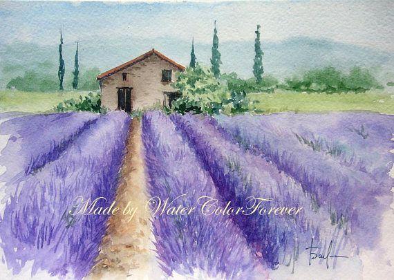Provence Original Watercolor Lavender Field Original Etsy Landscape Paintings Watercolor Painting Etsy Watercolor Pictures