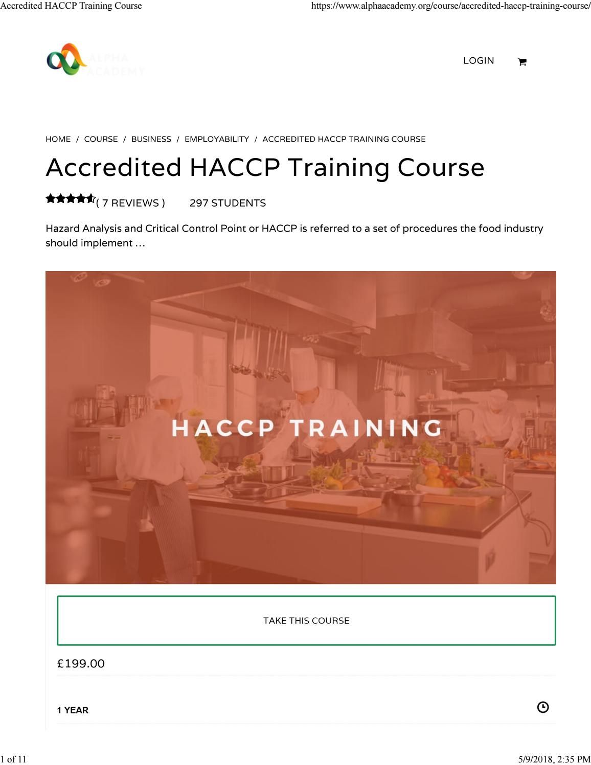 Accredited haccp training course Training courses