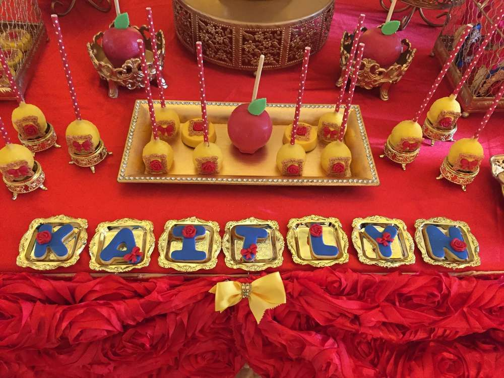 Decorated cookies at a Snow White birthday party! See more party planning ideas at CatchMyParty.com!